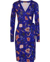 Diane von Furstenberg - Wrap Dress, Cantonese Flower Print Electric Blue Dress - Lyst