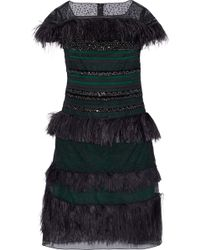Carolina Herrera - Embellished Paneled Lace, Mesh And Organza Dress - Lyst