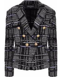 Balmain - Woman Double-breasted Metallic Checked Knitted Blazer Black - Lyst
