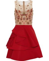 Marchesa notte - Embellished Tulle And Ruffled Silk-faille Mini Dress - Lyst