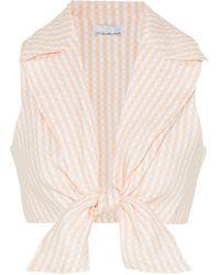 Miguelina Jill Cropped Tie-front Gingham Linen Top Pastel Orange