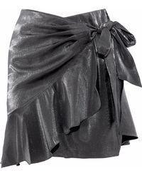 Cinq À Sept - Harley Wrap-effect Metallic Woven Mini Skirt - Lyst