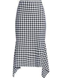 Rosetta Getty - Draped Gingham Knitted Skirt - Lyst