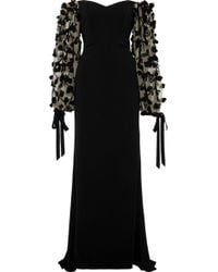 Badgley Mischka - Woman Off-the-shoulder Embellished Tulle And Cady Gown Black - Lyst