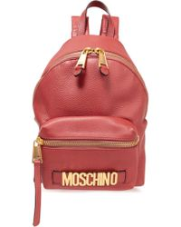 Moschino - Woman Textured-leather Backpack Antique Rose - Lyst