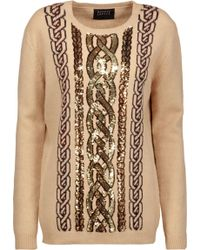 Markus Lupfer - Natalie Sequined Intarsia-knit Wool Sweater - Lyst
