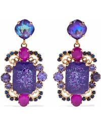 Elizabeth Cole - 24-karat Gold-plated Stone And Crystal Earrings Purple - Lyst