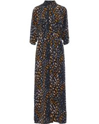 Equipment - Belted Printed Washed-silk Maxi Shirt Dress - Lyst