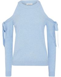 MILLY Bow-detailed Cold-shoulder Knitted Top Sky Blue