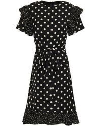 Mikael Aghal - Woman Belted Ruffle-trimmed Polka-dot Crepe Dress Black - Lyst