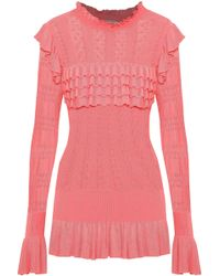 Temperley London - Ruffled Pointelle-knit Top - Lyst