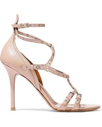 1f8659a8c9 Valentino - Love Latch Eyelet-embellished Leather Sandals Pastel Pink - Lyst