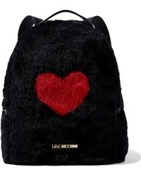 Love Moschino - Woman Leather-trimmed Printed Faux Fur Backpack Black - Lyst