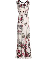Roberto Cavalli - Embellished Cutout Printed Silk Gown - Lyst