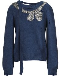 Marc Jacobs - Embellished Distressed Wool And Cashmere-blend Jumper - Lyst