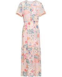 Claudie Pierlot - Woman Floral-print Georgette Maxi Dress Pastel Pink - Lyst