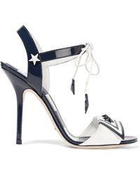 Dolce & Gabbana - Embellished Patent-leather Sandals - Lyst
