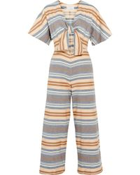 Solid & Striped - The Tie Cutout Striped Basketweave Cotton Jumpsuit - Lyst