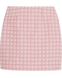 Alexander Lewis - - Morningside Cotton-jacquard Mini Skirt - Baby Pink - Lyst