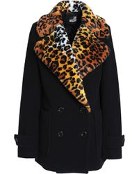 Love Moschino - Woman Faux Fur-trimmed Double-breasted Wool-blend Coat Black - Lyst
