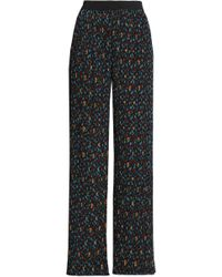 Maje - Pleated Printed Crepe Wide-leg Pants - Lyst