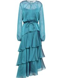 Mikael Aghal - Woman Tiered Iridescent-effect Voile Midi Dress Teal - Lyst
