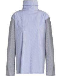 e5334adf04 TOME - Woman Open-back Striped Cotton-poplin Turtleneck Top Blue - Lyst