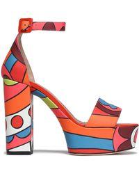 RED Valentino - Printed Leather Platform Sandals - Lyst