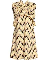Marni - Ruffle-trimmed Printed Cotton-poplin Dress Pastel Yellow - Lyst