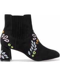 Sophia Webster - Embroidered Suede Ankle Boots - Lyst