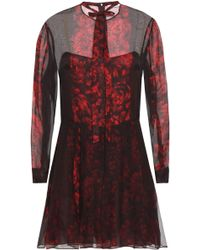 aaeb320a4c Valentino - Woman Pussy-bow Printed Silk-chiffon Playsuit Crimson - Lyst