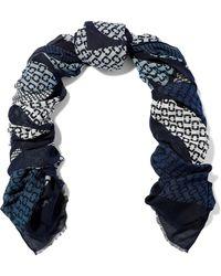 Diane von Furstenberg - Woman Frayed Printed Modal And Cashmere-blend Scarf Blue - Lyst