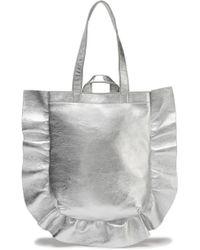 Loeffler Randall - Ruffle-trimmed Metallic Textured-leather Tote - Lyst