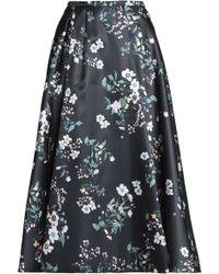 Rochas - Floral-print Duchesse Satin Midi Skirt - Lyst