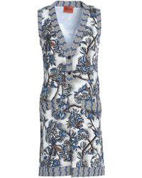 Missoni - Crochet Knit-trimmed Printed Silk-blend Crepe Mini Dress Light Grey - Lyst