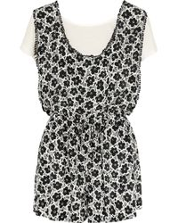 Love Moschino - Floral-print Silk And Stretch-jersey Playsuit - Lyst