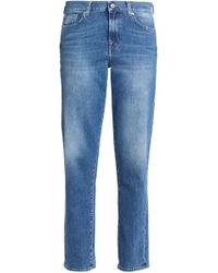 7 For All Mankind - Faded Mid-rise Straight-leg Jeans Mid Denim - Lyst
