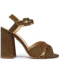 Charlotte Olympia - Leather-trimmed Lurex Sandals - Lyst