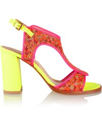 6849380467115 Markus Lupfer - Neon Leather And Brocade Sandals - Lyst