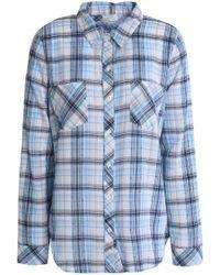 Soft Joie - Gingham Cotton-blend Shirt Light Blue - Lyst
