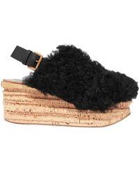 Chloé - Camille Leather-trimmed Shearling Platform Slingback Sandals - Lyst