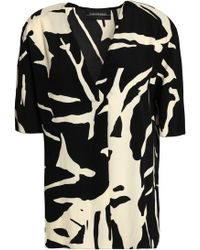 By Malene Birger - Woman Printed Crepe Blouse Black - Lyst