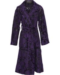 Roland Mouret - Fil Coupé Cotton And Silk-blend Trench Coat Dark Purple - Lyst