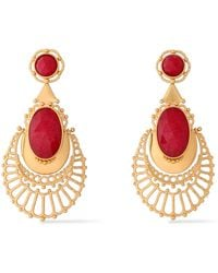 Kate Spade - Woman Gold-tone Crystal Earrings Red - Lyst