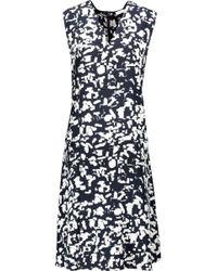 Vince - Pleated Printed Silk-chiffon Mini Dress - Lyst