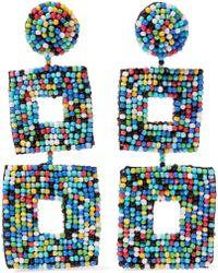 Kenneth Jay Lane - Woman Beaded Faux Suede Earrings Multicolor - Lyst