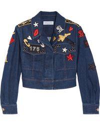 Sonia Rykiel - Cropped Embroidered Stretch-denim Jacket - Lyst