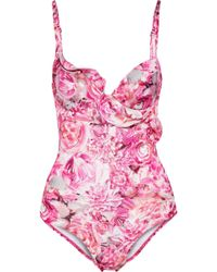 La Perla - Open-back Ruffle-trimmed Floral-print Underwired Swimsuit - Lyst