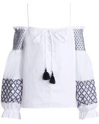 Rebecca Minkoff - Cold-shoulder Embroidered Cotton-poplin Top - Lyst