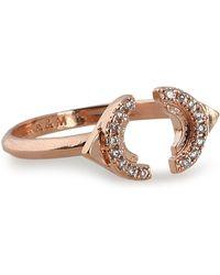 Astrid & Miyu - Fitzgerald Circle 18-karat Rose Gold-plated Zirconium Ring - Lyst